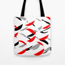 black white red grey abstract minimal pattern Tote Bag