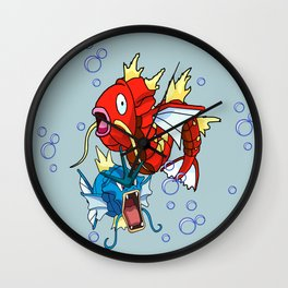 derpmon /gyarados / magikarp / face swap Wall Clock