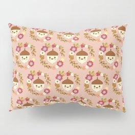 Acorn and Flowers Pattern Design / Blush Pink Pillow Sham