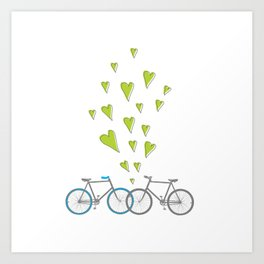 Raining Love over Bikes Art Print