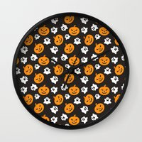 halloween Wall Clocks featuring Halloween by cat&wolf