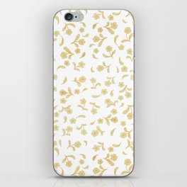 Shabby vintage orange brown bohemian floral pattern iPhone Skin
