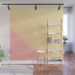 Pastel Ombre Millennial Pink Yellow Diagonal Stripes | Peach, apricot gradient pattern Wall Mural