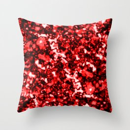 A bright cluster of red bodies on a dark background. Throw Pillow