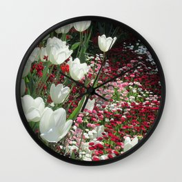 White tulips and common daisies Wall Clock