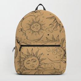 Tan Magic Celestial Sun Moon Stars Backpack