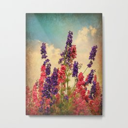 Delphiniums (Textured) Metal Print