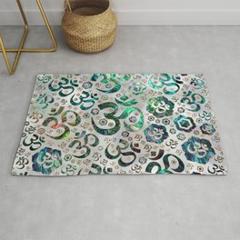 OM symbol pattern -Abalone shell on pearl Rug