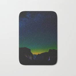 Starry Night Sky Stars Landscape Silhouette Colorful Green Turquoise Sky Ombre Bath Mat