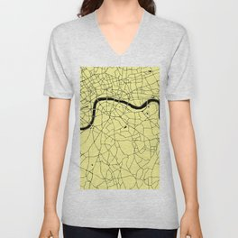 London Yellow on Black Street Map Unisex V-Neck