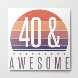 40th Birthday Retro Sunset Metal Print