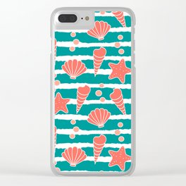 cute striped pattern with seashells and starfishes in living coral color Clear iPhone Case