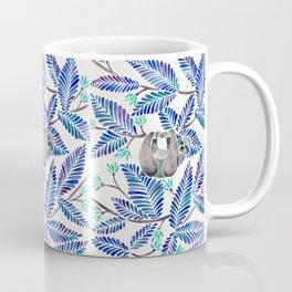 Happy Sloth – Tropical Blue Leaves Coffee Mug