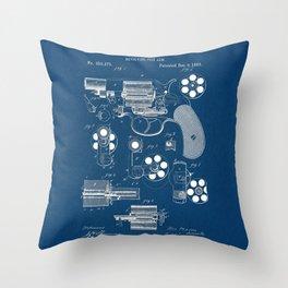Revolver blue Patent Throw Pillow