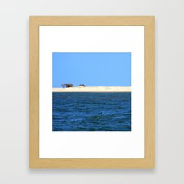 Strip of sand sea and sky Framed Art Print