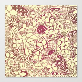 Yellow square, pink floral doodle, zentangle inspired art pattern Canvas Print