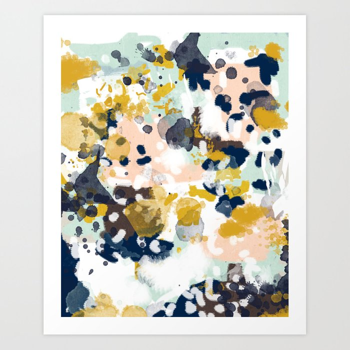 Sloane - Abstract painting in modern fresh colors navy, mint, blush, cream, white, and gold Kunstdrucke