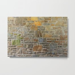 Avondale Brown Stone Wall and Mortar Texture Photography Metal Print