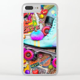 Super Retro Roller Skate Night Clear iPhone Case