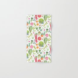 Spring Harvest Pattern White Hand & Bath Towel