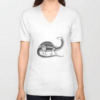 dinosaur V-neck T-shirts featuring Dinosaur by Nicole Whelan