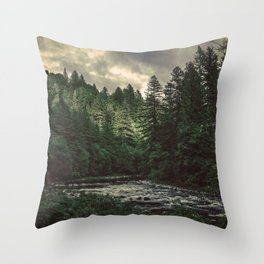 Pacific Northwest River - Nature Photography Throw Pillow