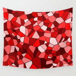 Red Monochrome Mosaic Pattern Wall Tapestry