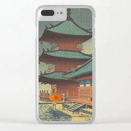 Asano Takeji-Rain In Kiyomizu Temple Vintage Japanese Woodblock Print Clear iPhone Case