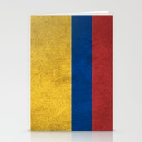 colombia Stationery Cards featuring Colombia Flag (Vintage / Distressed) by Patterns
