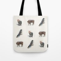 totem Tote Bags featuring Totem by Quick Brown Fox