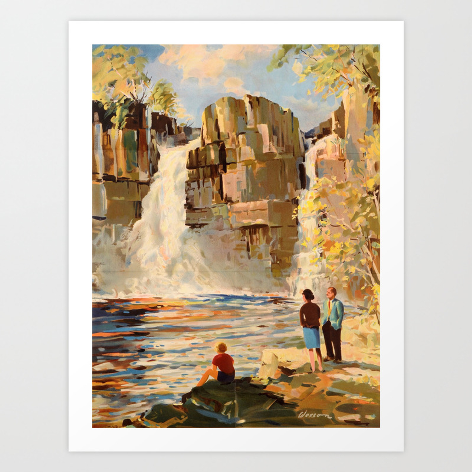 Picture of: Mid Century Modern Vintage Travel Poster England Landscape Rocky Waterfall Art Print By Enshape Society6