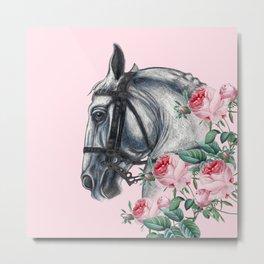 Horse And Roses Metal Print