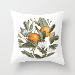 Blooming Citrus Watercolor Throw Pillow