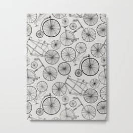 Monochrome Vintage Bicycles of Soft Grey Metal Print