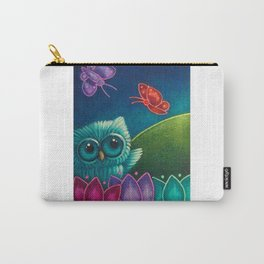 SPRING TINY OWL, FLOWERS & BUTTERFLIES Carry-All Pouch