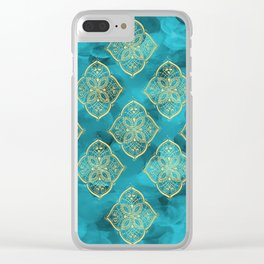 Teal Swirls and Gold Oriental Designs Clear iPhone Case