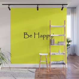 Be Happy - Black and Yellow Design Wall Mural
