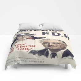 Vintage poster - I Want You FDR Comforters