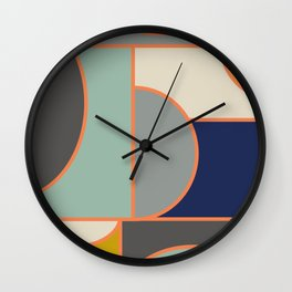 Colorful Geometric Cubism Design Wall Clock