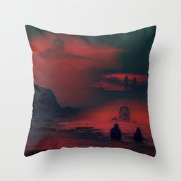 Carnival at the Beach Bathed by the Red Sunset Throw Pillow