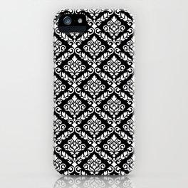 Prima Damask Pattern White on Black iPhone Case