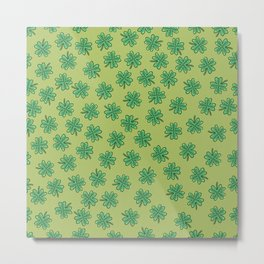 Green Four Leaf Clover Pattern Metal Print