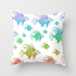 A School of Rainbow Fish Throw Pillow