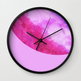 Violet lilac neon pink modern abstract watercolor Wall Clock