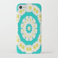 coasters iPhone & iPod Cases featuring White Daisies on Turquoise Background by Lena Photo Art