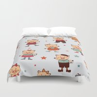 pigs Duvet Covers featuring Pigs pattern by olillia