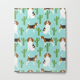Beagle in cactus southwest desert dog breed pet portraits animal illustration beagle owners  Metal Print