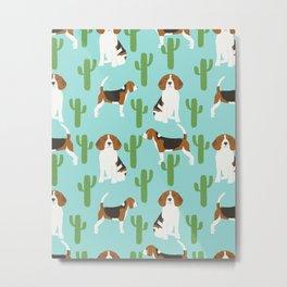 Beagle in cactus southwest desert dog breed pet portraits animal illustration beagle owners  Metal Print