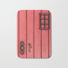 Faded Weathered Red Painted Speakeasy Door of Old World Europe Bath Mat