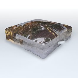 Snowy Hut Landscape (Tromso, Norway) Outdoor Floor Cushion